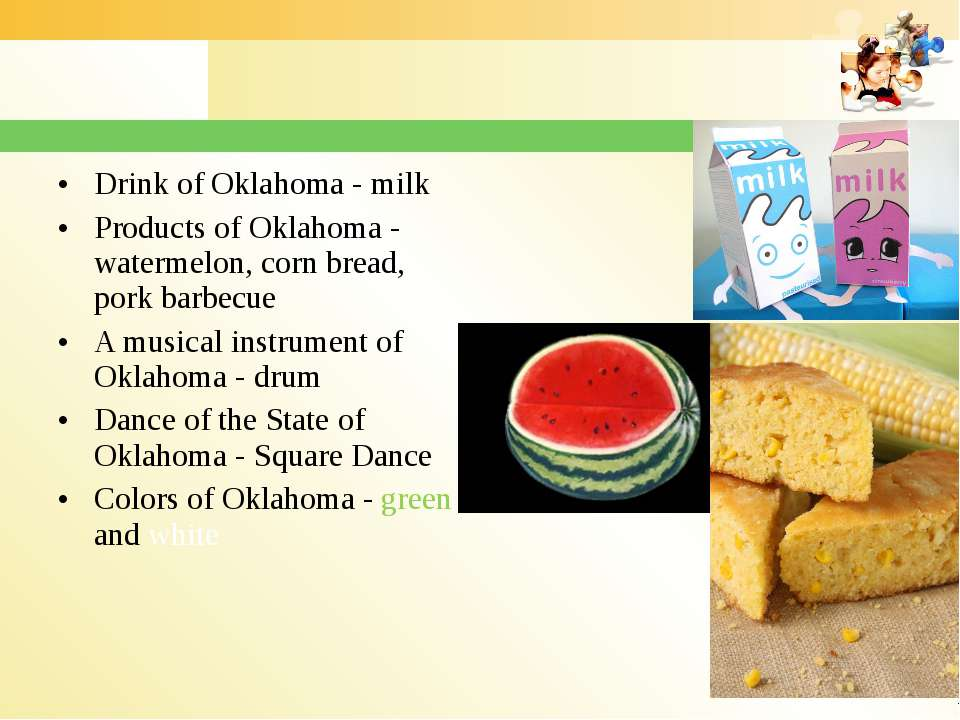 Drink of Oklahoma - milk Products of Oklahoma - watermelon, corn bread, pork ...