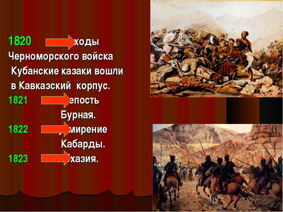 1820 походы Черноморского войска Кубанские казаки вошли в Кавказский корпус. ...