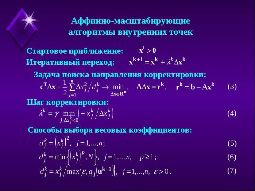 Аффинно-масштабирующие алгоритмы внутренних точек Стартовое приближение: Итер...