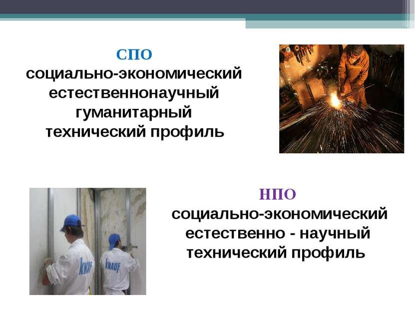 СПО социально-экономический естественнонаучный гуманитарный технический профи...