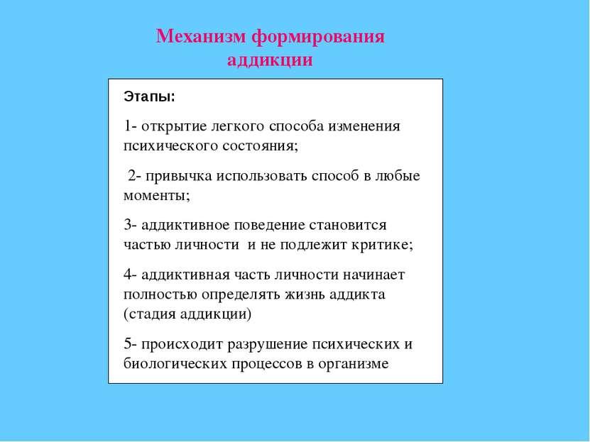 Механизм формирования аддикции Этапы: 1- открытие легкого способа изменения п...