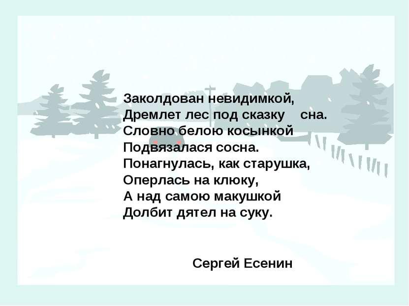 Заколдован невидимкой, Дремлет лес под сказку сна. Словно белою косынкой Подв...