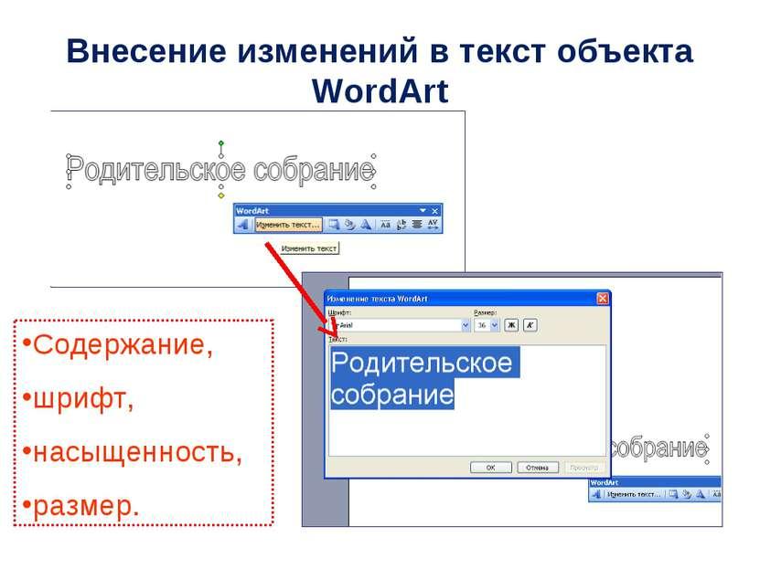 Содержание, шрифт, насыщенность, размер. Внесение изменений в текст объекта W...