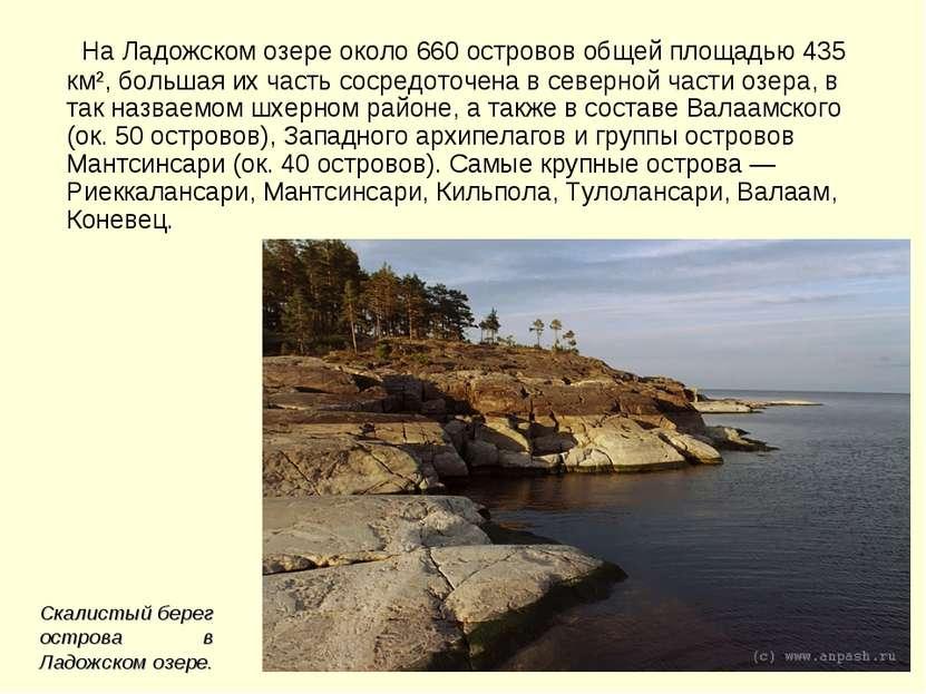 На Ладожском озере около 660 островов общей площадью 435 км², большая их част...