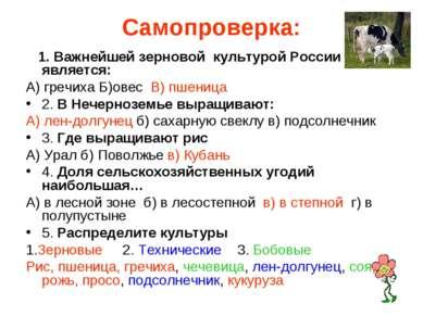 Самопроверка: 1. Важнейшей зерновой культурой России является: А) гречиха Б)о...