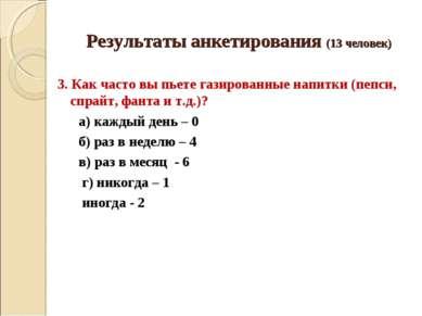 Результаты анкетирования (13 человек) 3. Как часто вы пьете газированные напи...