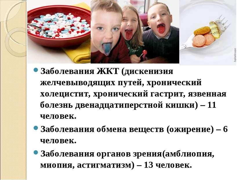 Заболевания ЖКТ (дискенизия желчевыводящих путей, хронический холецистит, хро...