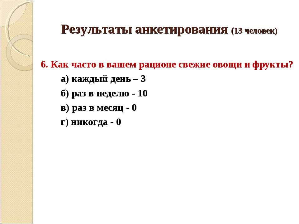 Результаты анкетирования (13 человек) 6. Как часто в вашем рационе свежие ово...