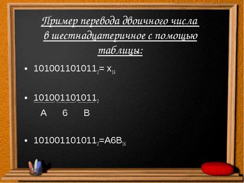 Пример перевода двоичного числа в шестнадцатеричное с помощью таблицы: 101001...