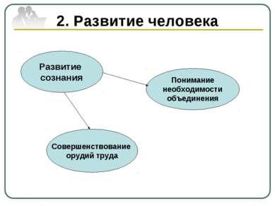 2. Развитие человека Развитие сознания Понимание необходимости объединения Со...