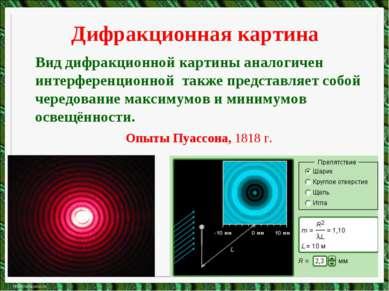Дифракционная картина Вид дифракционной картины аналогичен интерференционной ...