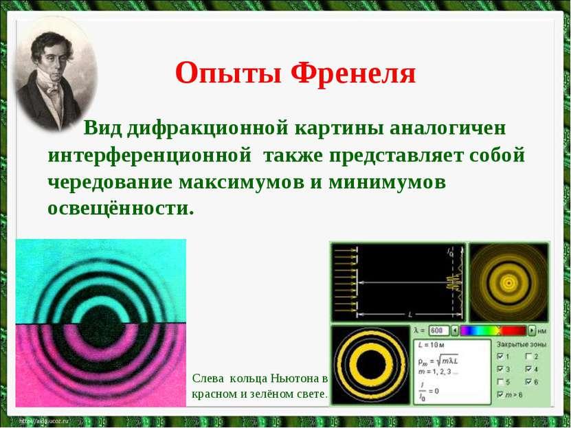 Опыты Френеля Вид дифракционной картины аналогичен интерференционной также пр...