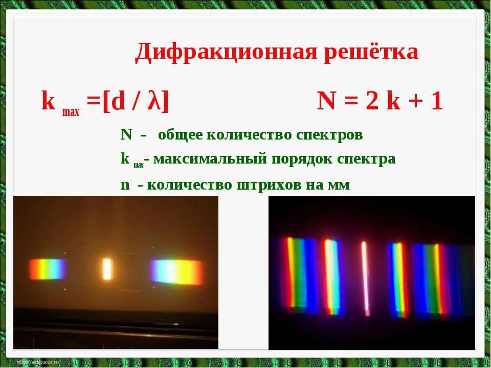 Дифракционная решётка k max =[d / λ] N = 2 k + 1 N - общее количество спектро...