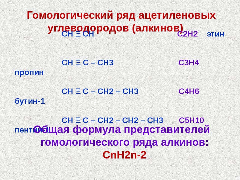 Гомологический ряд ацетиленовых углеводородов (алкинов) СН Ξ СН С2Н2 этин СН ...