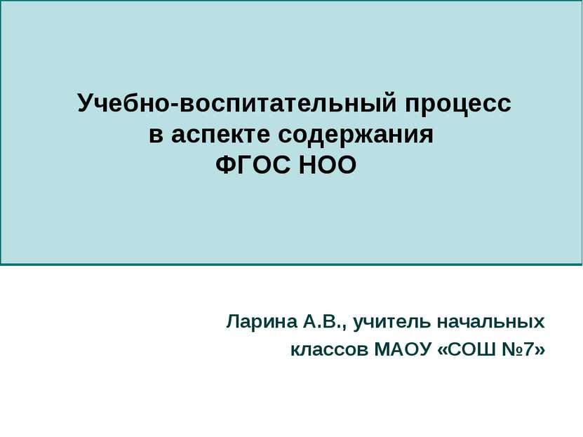 Учебно-воспитательный процесс в аспекте содержания ФГОС НОО Ларина А.В., учит...