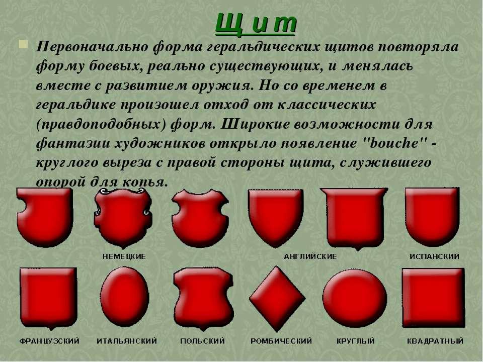 Щ и т Первоначально форма геральдических щитов повторяла форму боевых, реальн...