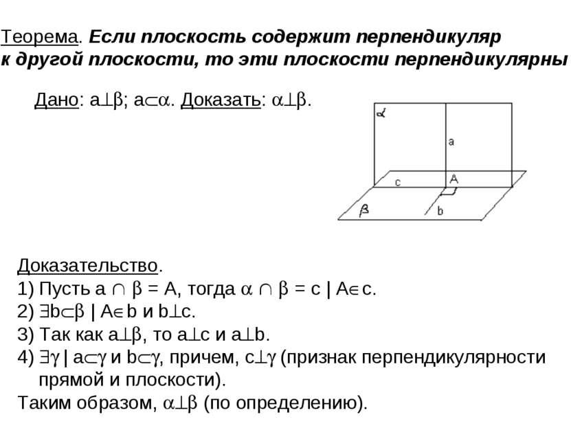 . Теорема. Если плоскость содержит перпендикуляр к другой плоскости, то эти п...