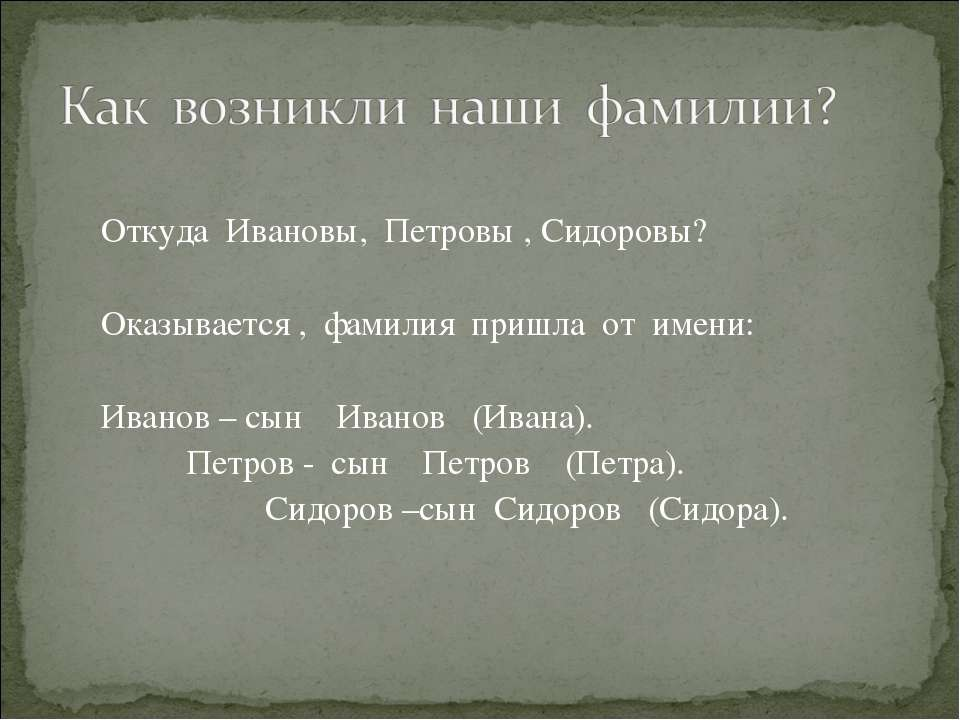 Откуда Ивановы, Петровы , Сидоровы? Оказывается , фамилия пришла от имени: Ив...