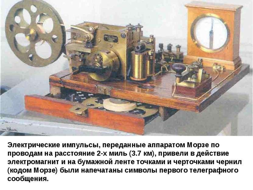 Электрические импульсы, переданные аппаратом Морзе по проводам на расстояние ...