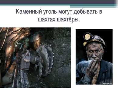 Каменный уголь могут добывать в шахтах шахтёры.