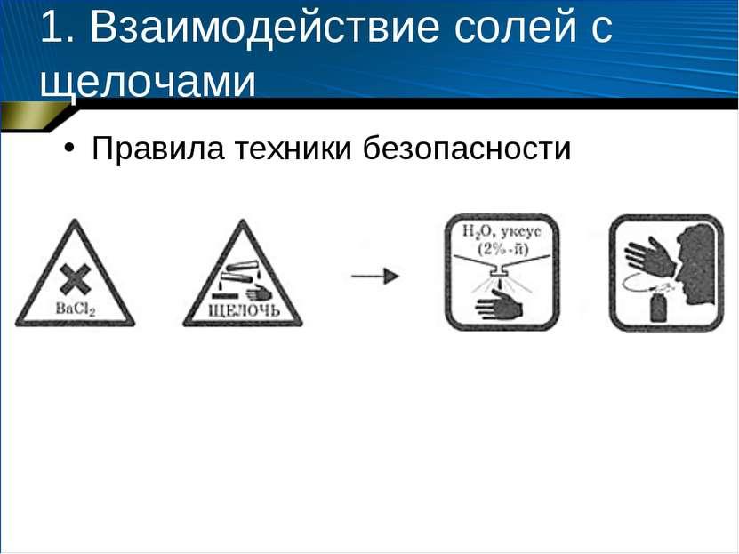 1. Взаимодействие солей с щелочами Правила техники безопасности