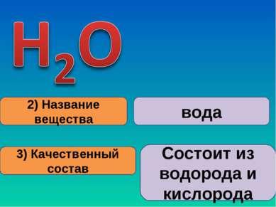 2) Название вещества 3) Качественный состав вода Состоит из водорода и кислорода