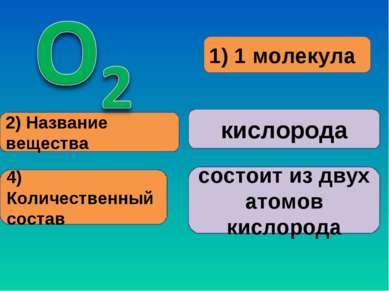 1) 1 молекула 2) Название вещества кислорода 4) Количественный состав состоит...