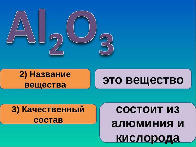 2) Название вещества 3) Качественный состав это вещество состоит из алюминия ...