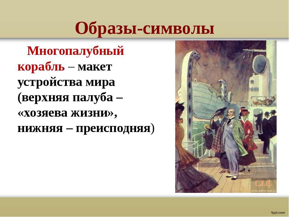 Образы-символы Многопалубный корабль – макет устройства мира (верхняя палуба ...
