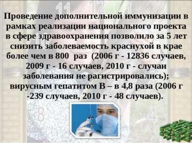 Проведение дополнительной иммунизации в рамках реализации национального проек...