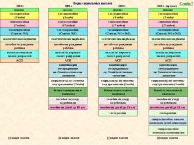 Виды социальных выплат пенсии госсоцпособия (3 вида) спегоспособия (17 видов)...