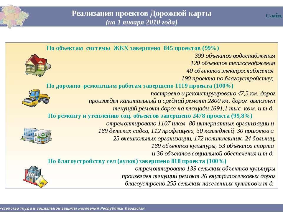 Реализация проектов Дорожной карты (на 1 января 2010 года) Министерство труда...
