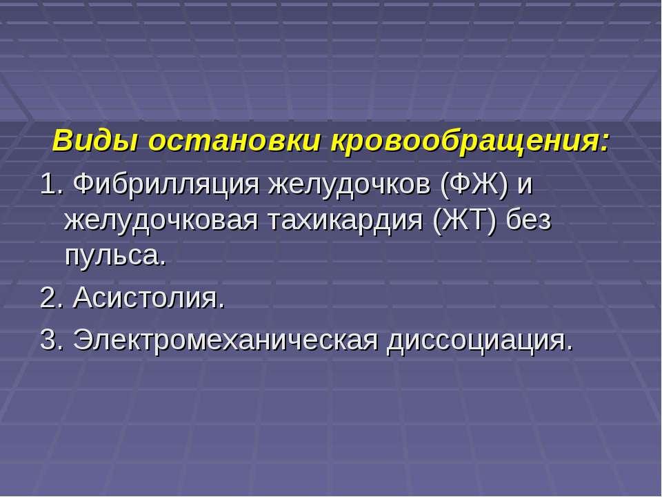Виды остановки кровообращения: 1. Фибрилляция желудочков (ФЖ) и желудочковая ...