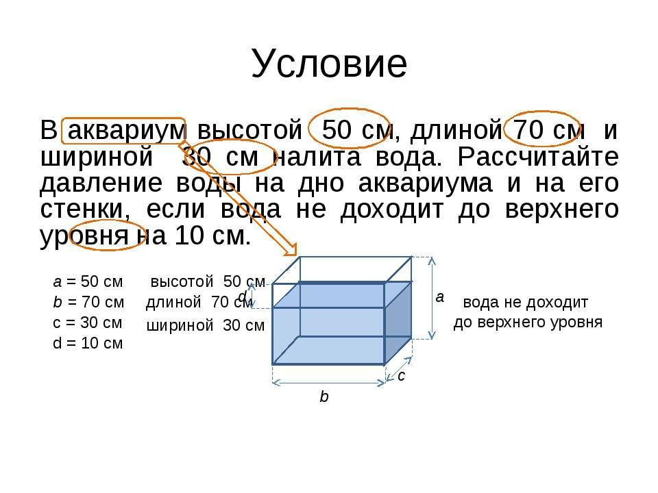 b = 70 см a = 50 см В аквариум высотой 50 см, длиной 70 см и шириной 30 см на...