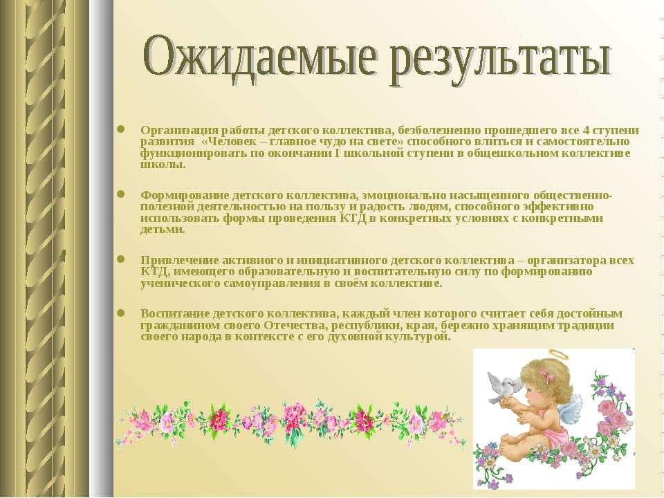 Организация работы детского коллектива, безболезненно прошедшего все 4 ступен...