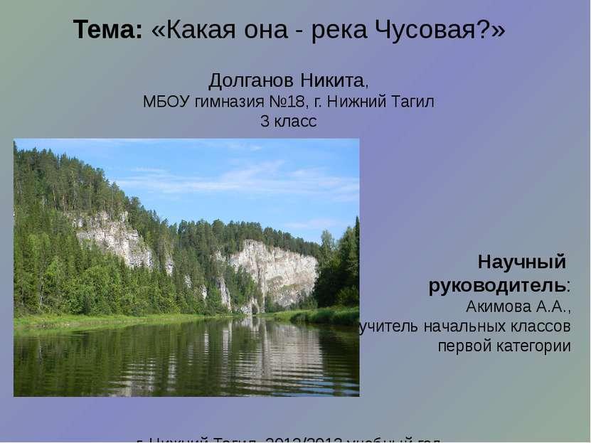 Тема:«Какая она - река Чусовая?» Долганов Никита, МБОУ гимназия №18, г. Нижн...