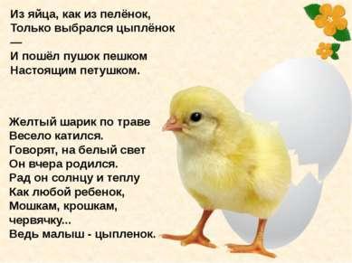 Желтый шарик по траве Весело катился. Говорят, на белый свет Он вчера родился...