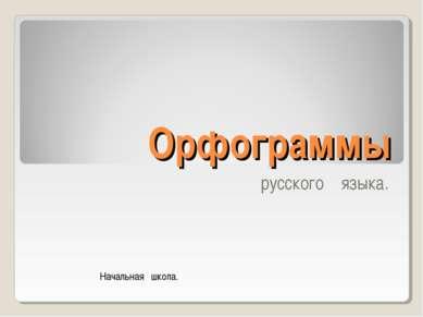 Орфограммы русского языка. Начальная школа.
