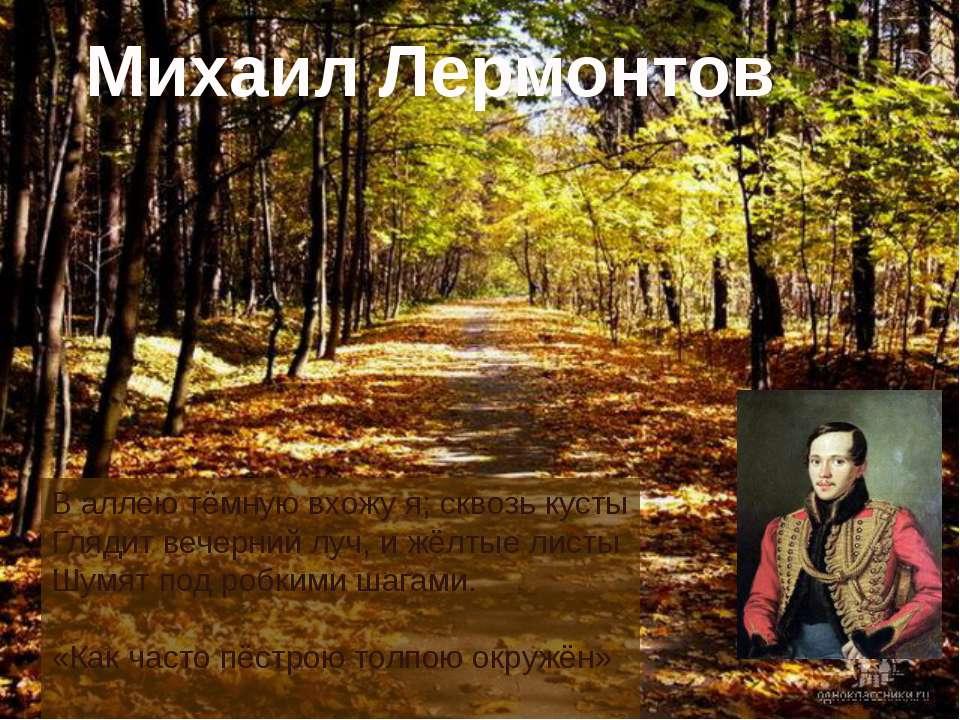 В аллею тёмную вхожу я; сквозь кусты Глядит вечерний луч, и жёлтые листы Шумя...