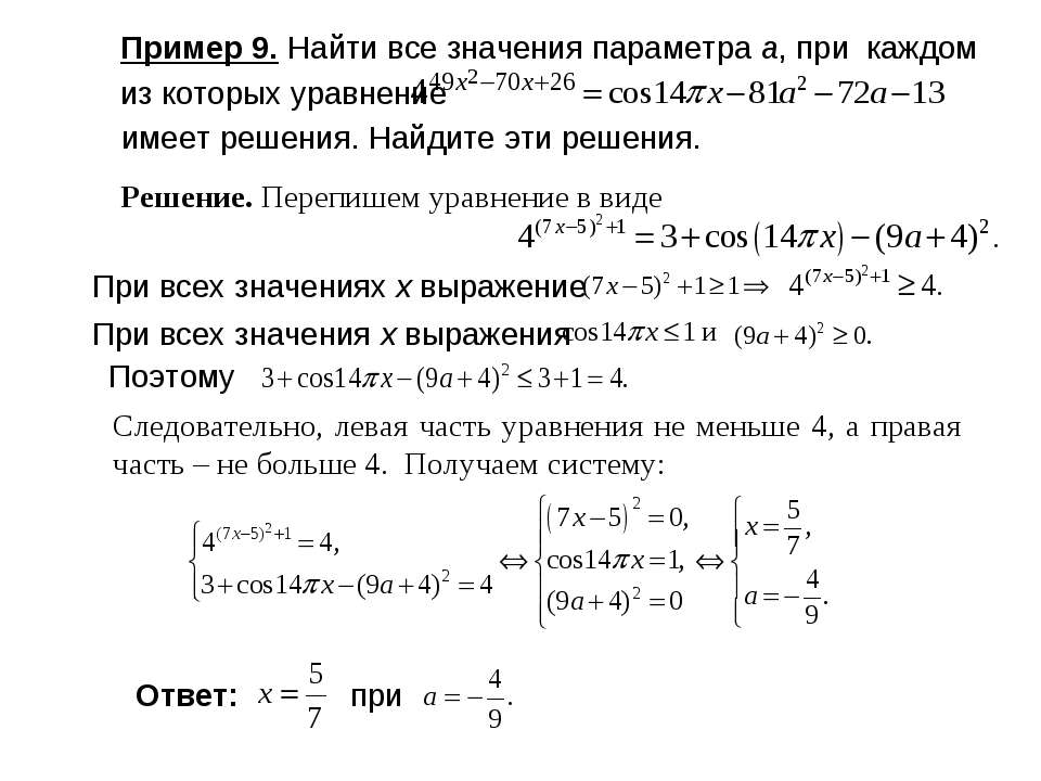 Пример 9. Найти все значения параметра а, при каждом из которых уравнение име...