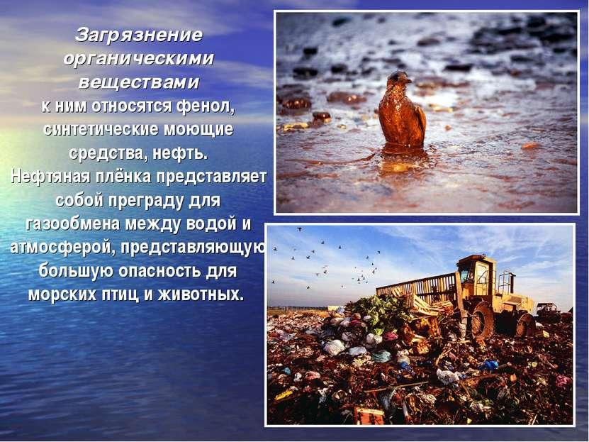 Загрязнение органическими веществами к ним относятся фенол, синтетические мою...