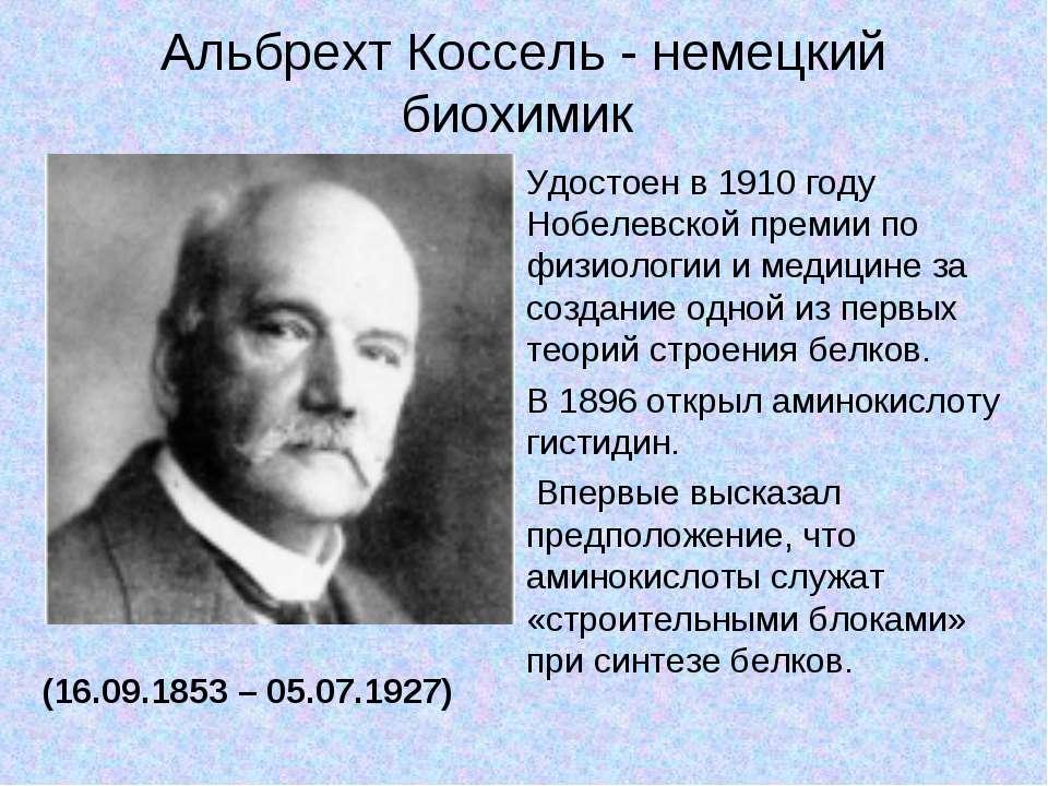 Альбрехт Коссель - немецкий биохимик (16.09.1853 – 05.07.1927) Удостоен в 191...