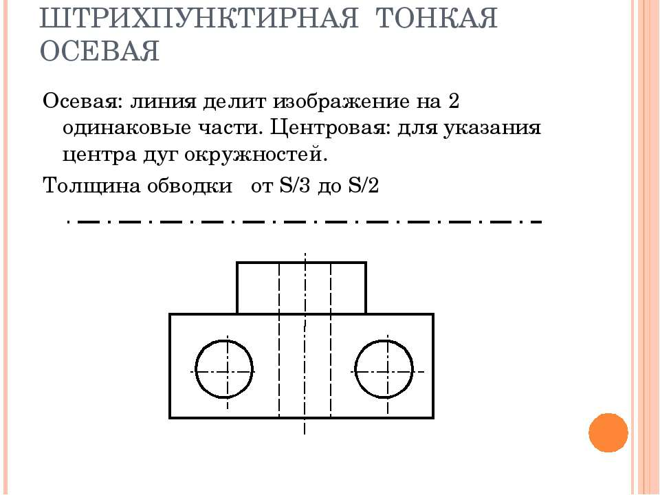 ШТРИХПУНКТИРНАЯ ТОНКАЯ ОСЕВАЯ Осевая: линия делит изображение на 2 одинаковые...