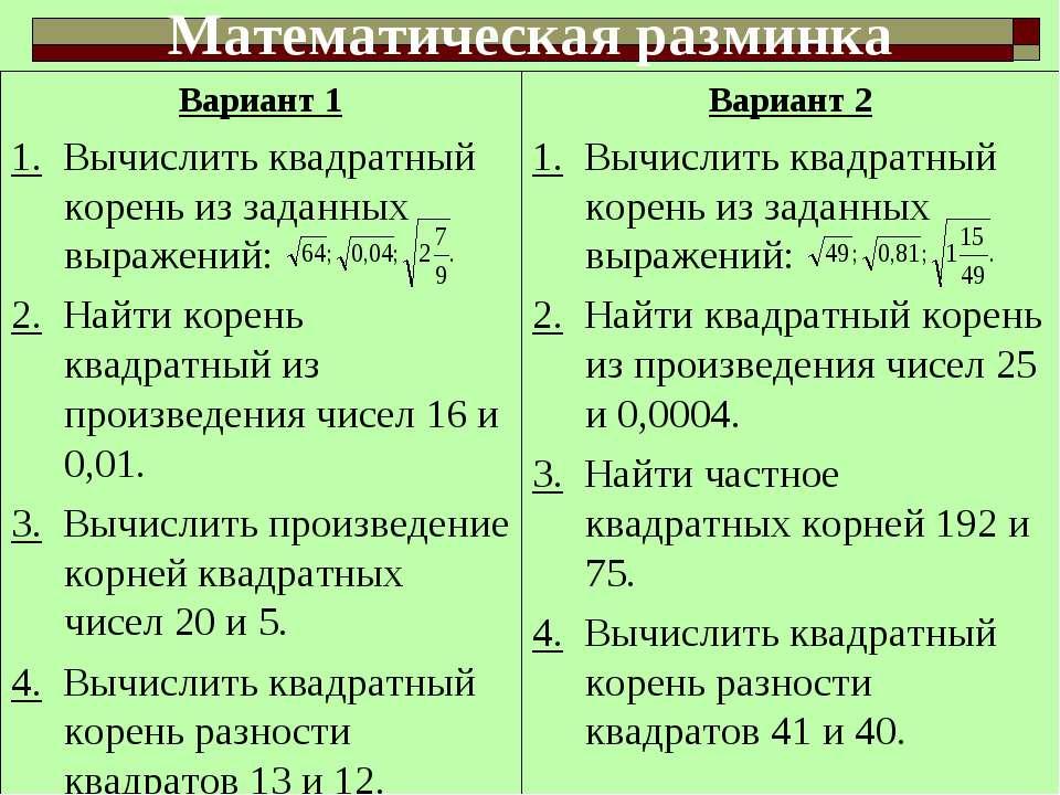 Вариант 1 1. Вычислить квадратный корень из заданных выражений: 2. Найти коре...