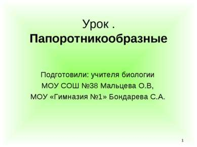 * Урок . Папоротникообразные Подготовили: учителя биологии МОУ СОШ №38 Мальце...