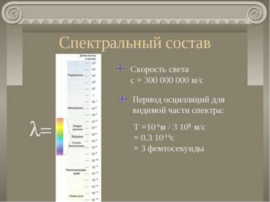 Спектральный состав l= Скорость света c = 300 000 000 м/c Период осцилляций д...