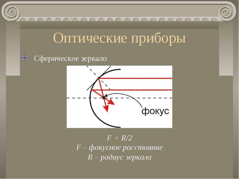 Оптические приборы Сферическое зеркало F = R/2 F – фокусное расстояние R – ра...