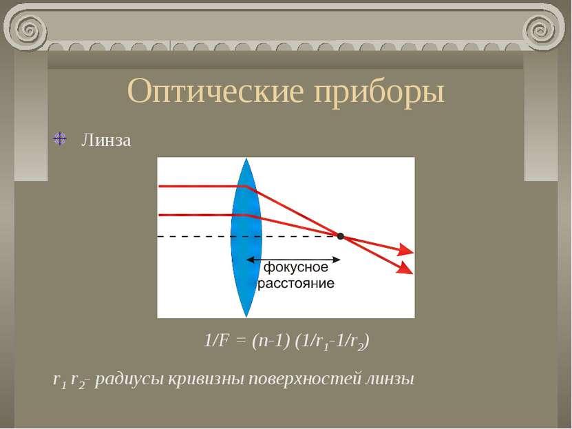 Оптические приборы Линза 1/F = (n-1) (1/r1-1/r2) r1 r2- радиусы кривизны пове...