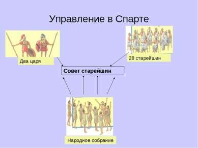 Управление в Спарте Совет старейшин Два царя 28 старейшин Народное собрание