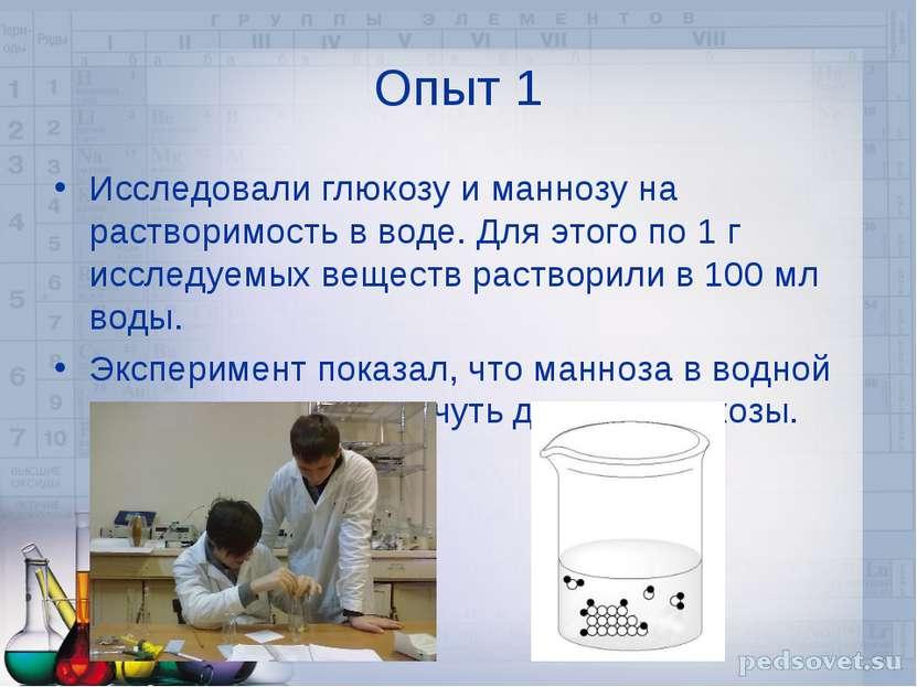 Опыт 1 Исследовали глюкозу и маннозу на растворимость в воде. Для этого по 1 ...